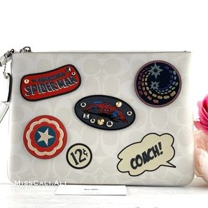 NWT COACH X MARVEL Gallery Pouch Bag with Patches